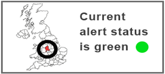 Current alert status is green